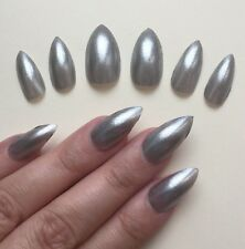 Hand Painted False Nails STILETTO. Full Cover. Silver Metal Metallic. Christmas