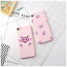 For iPhone 7 7 Plus 6 6S Plus Cartoon Pink Pig Piggy Cat Claws Soft Case Cover