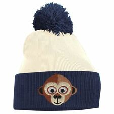 Monkey Face Cute Animal Embroidered Bobble Pom Pom Beanie Hat Logo Mens