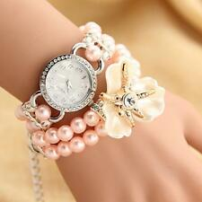 Sweet Pearl Crystal Bracelet Bangle Wrist Quartz Watch Girls Gift Accessory