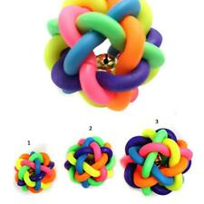 Pet Dog Cat Toy Rainbow Rubber Chew Ball Bell Puppy Pet Colorful Toy 3 Sizes