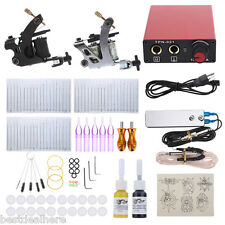 Tattoo Kit Iron Machine 2 Guns Shader Liner Needles Ink Steel Foot Pedal Switch