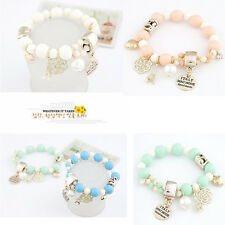 Hot Bangle Beaded Bracelet Elastic Charm Rose Flower Imitation Pearl Bracelet