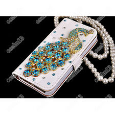 Luxurious Peacock Diamonds Leather Slot Wallet Pouch Flip Case Cover Skin