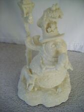 VINTAGE LIGHT UP CHRISTMAS SNOWMAN PRAYING BY LAMPPOST SURROUNDED BY ANIMALS