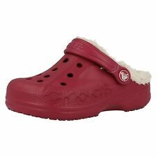 """CHILDRENS CROCS POMEGRANATE/OATMEAL SYNTHETIC CLOGS """"BAYA LINED"""""""