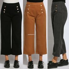 Women Vintage High Waist Solid Button Decor Ankle Length Culottes Wide Leg Pants