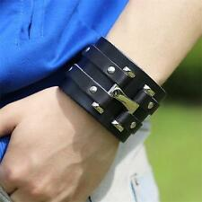 New Punk Cool Mens Wide Genuine Leather Belt Bracelet Cuff Wristband Bangle