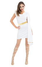 Adult Ladies Roman Greek Goddess White Toga Fancy Dress Costume Outfit