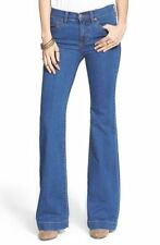 NWT Womens Free People Stretch Mid Rise Flare Jeans Dallas Wash Blue