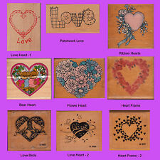 ROMANCE/LOVE THEME - ASSORTED WOOD MOUNTED RUBBER STAMPS - YOU CHOOSE