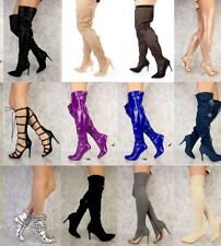 NEW LOT Black Brown Camel Nude Thigh High Platform Hook Loop Boots Faux Leather