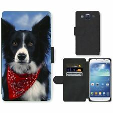 Phone Card Slot PU Leather Wallet Case For Samsung Border Collie dog neck scarf