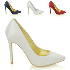 WOMENS POINTED STILETTO HIGH HEEL PARTY BRIDAL LADIES COURT SHOES SIZE 3-8