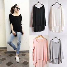 Hot Sale Lady Modal T-Shirt  Irregular Long Batwing Sleeve Loose Blouse Tops
