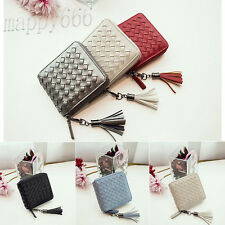 Women Wallet Fashion Leather Weave Small Wallet Card Holder Coin Purse Handbag