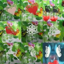 50x Wedding Party Wine Glass Paper Laser Cut Name Mark Place Cards Table Setting