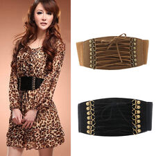 Retro Women Elastic Buckle Wide/Tassel Waistband Lady Corset Stretch Waist Belt