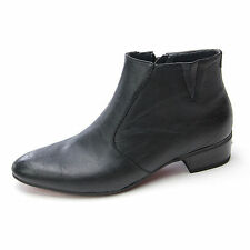 Mens black pointed toe vintage wedge cut out band side zip med heels ankle boots