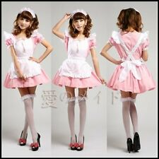 Pink Japanese Maid Uniform Costume Lolita Dress for Halloween/Cosplay Party