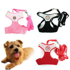 S M L Comfort Soft Dog Leash Lead With Mesh Harness Girth Vest Small Cat Pet Dog