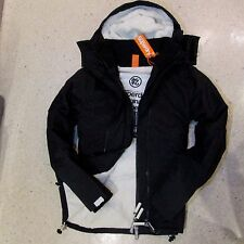 New Superdry Mens Windcheater Hooded SHERPA lined Jacket coat Black