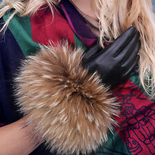 Black Women's 360° Smart Touch Screen Winter Gloves Genuine Leather Raccoon hair