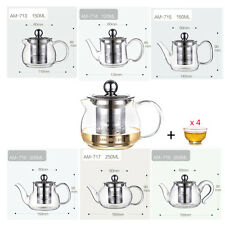 4oz. Kamjove Heat Resistant Glass Teapot with Stainless Steel Infuser + 4x Cups