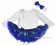 Plain Hanukkah White Cotton L/S Bodysuit Blue Candle Girls Baby Dress Set NB-18M