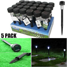 LOT 5 Black LED Solar Powered Outdoor Lawn Lights for Garden Path Landscape UB