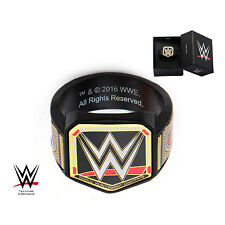 AUTHENTIC WWE Championship Belt Logo Ring Black Plated Stainless Steel