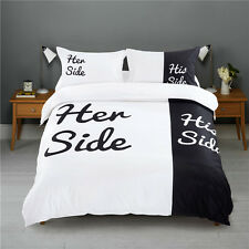 Queen King His Side & Her Side Duvet Cover and Pillowcases Bedding Set NO Quilt