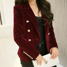 Women Turn Up Sleeve Tailored Fit Velvet Blazer Casual Jacket Suit Solid Color