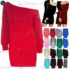 Womens Ladies Tunic Chunky Off Shoulder Knit Oversized Baggy Mini Jumper Dress