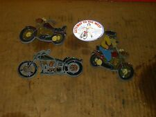 Lot of 3 Motorcycle Sun-Catchers Nos Faux Stained Glass.#