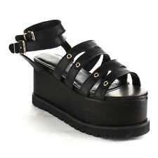 C LABEL AB89 Women's Platform Ankle Strap Buckle Lug Sole Wedges New In Box