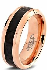 Tungsten Wedding Band Ring 8mm for Men Women Comfort Fit 18K Rose Gold Plated..