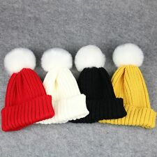 Warmer Soft Crochet Knitted Hat Wool Fur Baby Kids Children Pompom Ball Cap