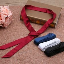 Fashion Women Long Real Silk  Stain Solid Tie Skinny Scarf