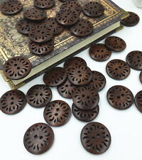 NEW Sewing Notions Hollow Round Wood Sewing Buttons Brown 25mm Dia