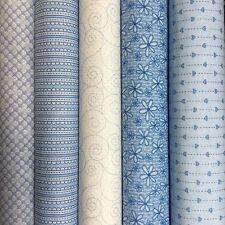 BASICALLY HUGS Collection in BLUE ~  Red Rooster 100% quilting cotton fabrics