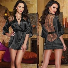 Sexy Womens Lace Sleepwear Chemise Kimono Sleep Nighty Gown Bath Robe+G-string