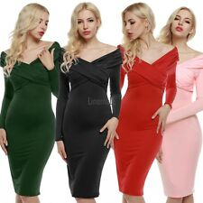 Retro WomenLadies V-neck Long Sleeve Cross Wrap Ruched Midi Dress New LM