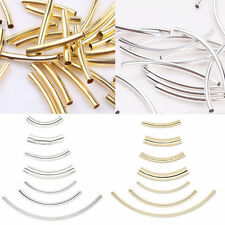 50/100/200Pcs Silver Gold Plated Curved Tube Elbow Noodle Spacer Beads Finding
