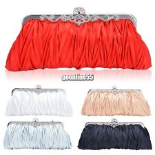 Ladies Women Purse Handbag Evening Party Bag Satin Wedding Bridal Clutch EA9