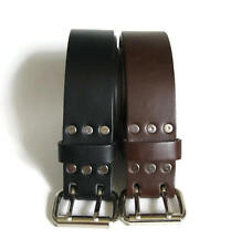 "1.75"" Wide Leather Belt 2 Prong Buckle, Black or Brown Casual Handmade in USA"