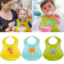 Infant Baby Kid Toddler Boy Girl Feeding Silicone Bib Baby Waterproof Lunch Bibs