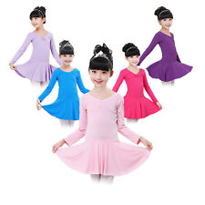 Kids Dancewear Ballet Dance Dress Girls Leotard Long Sleeve Tutu Skirt Costume