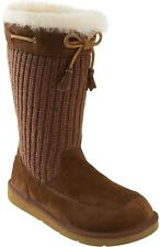 New UGG Uggs Kids SUBURB CROCHET Brown in Suede BOOTS  13