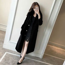100% Real Wool Cashmere Long Coat Jacket With Fox Fur Collar Overcoat S/M/L/XL